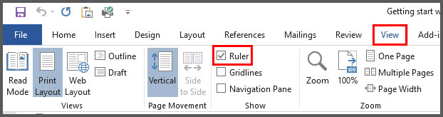 Show or Hide Ruler in Word 2016 image