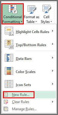 Select New Rule from Conditional Formatting