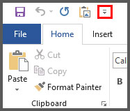 Microsoft Word 2016 Quick Access Toolbar Image