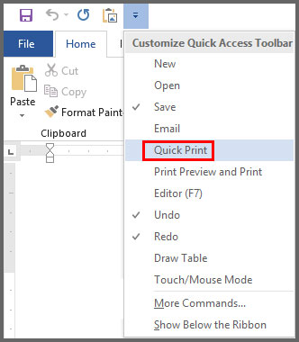 Add Command Quick Access Toolbar in Word 2016